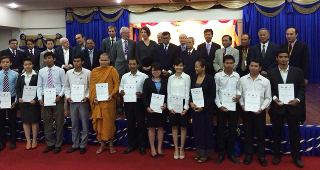 15 students have just received the Scholarship award certificate to study the Master programme in International Human Rights Law at Pannasastra University of Cambodia