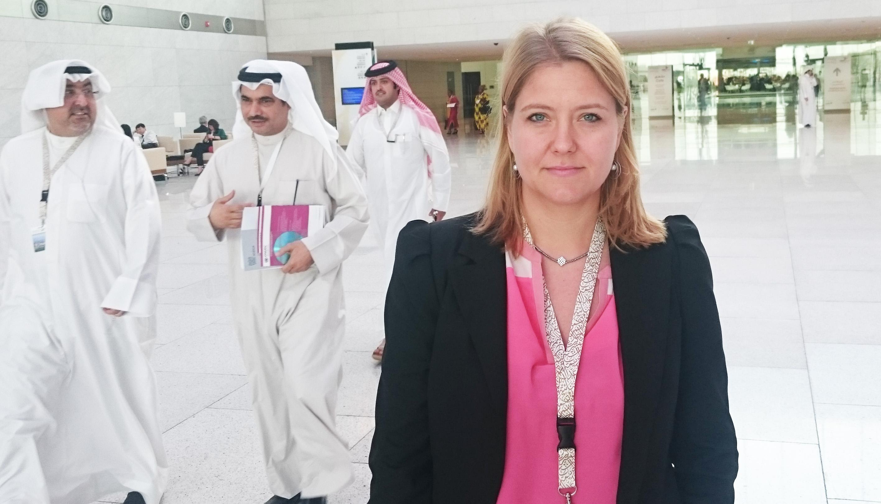 Merethe Borge MacLeod representing RWI in Doha.