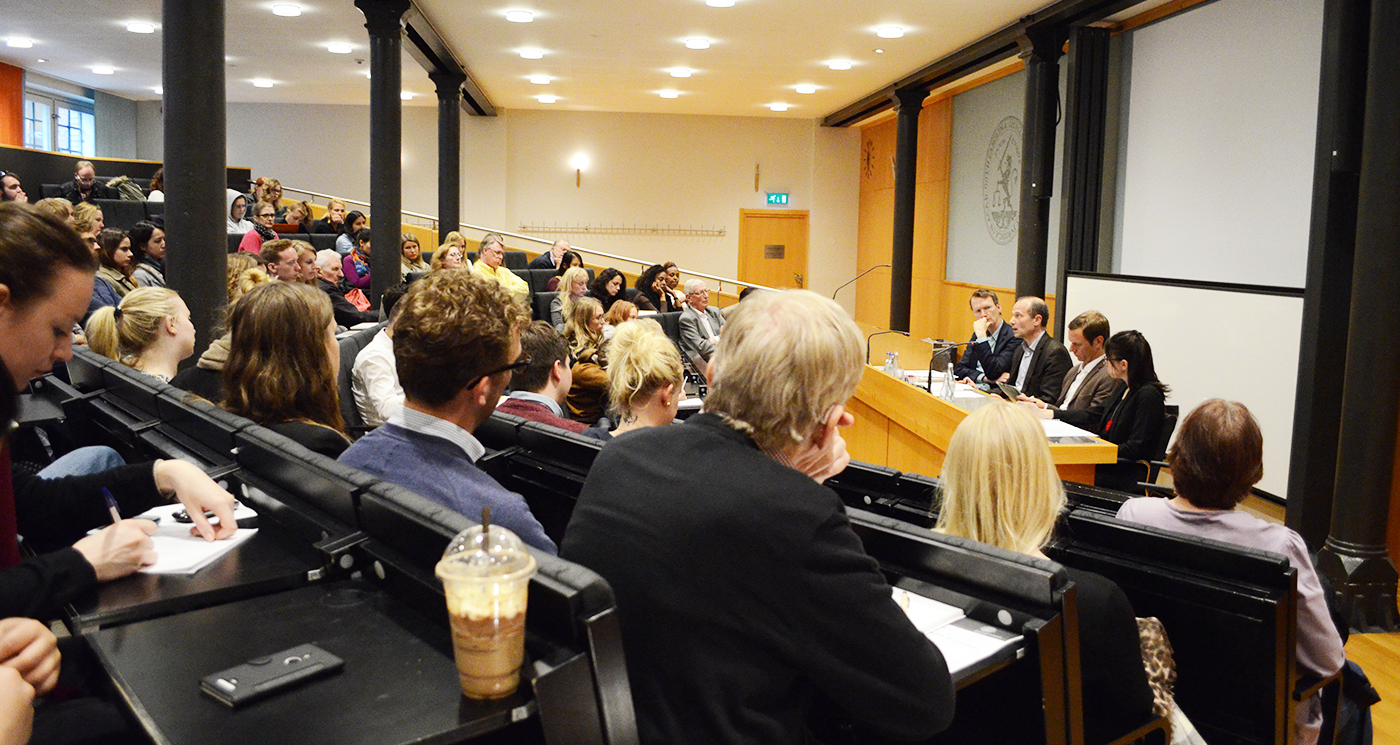 Panel debate in Lund, Sweden about boat refugees drowning in the Mediterranean