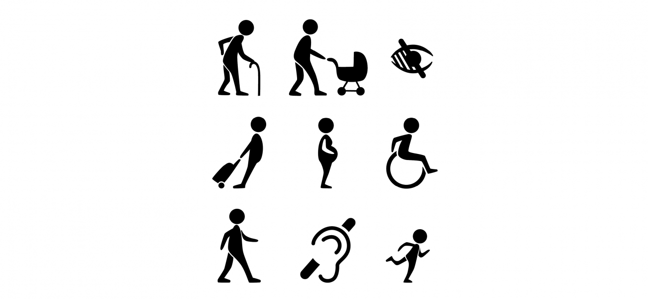 icons - disability - pregnant, in wheel chair, old