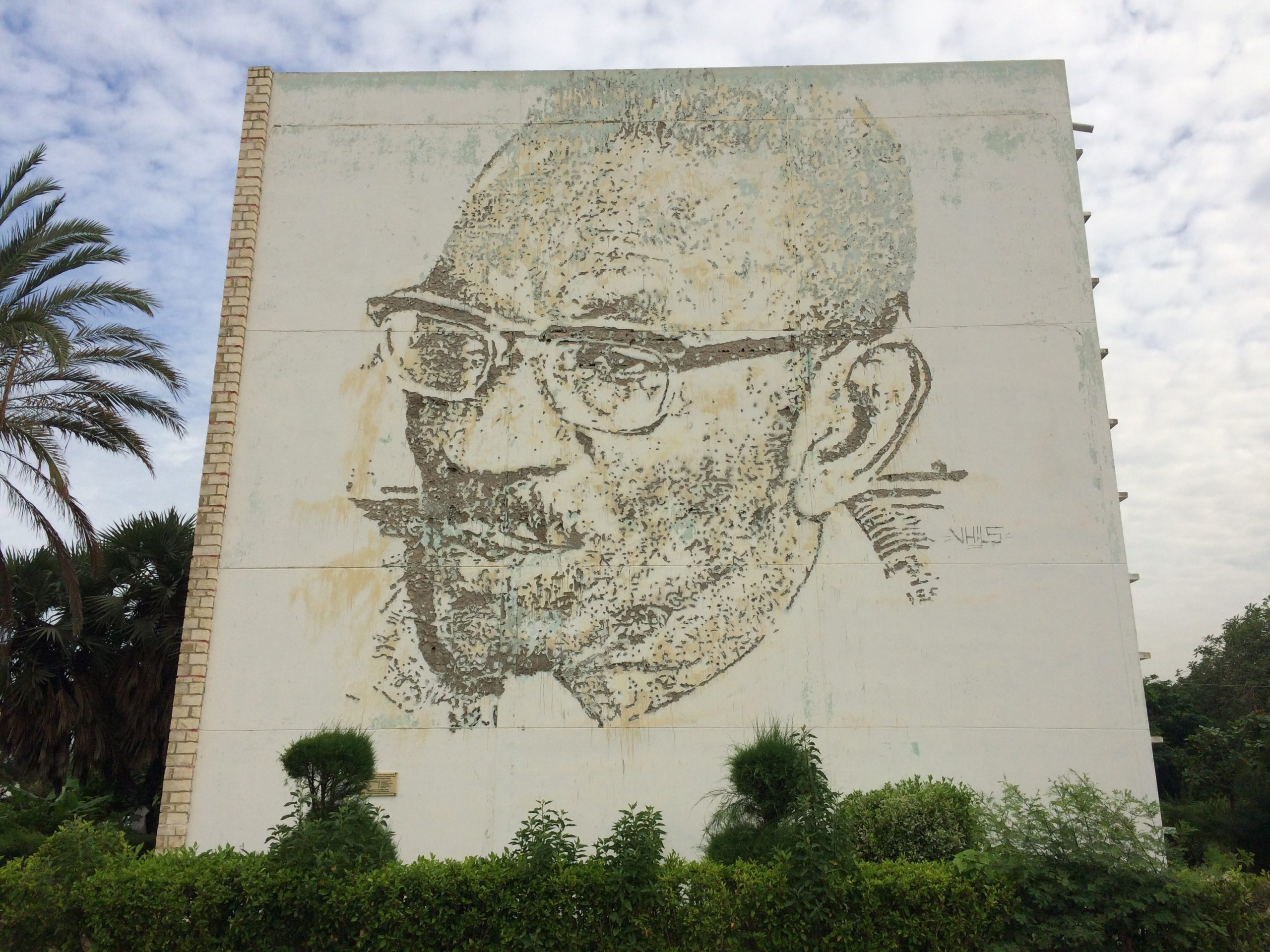 Picture of a man on a wall