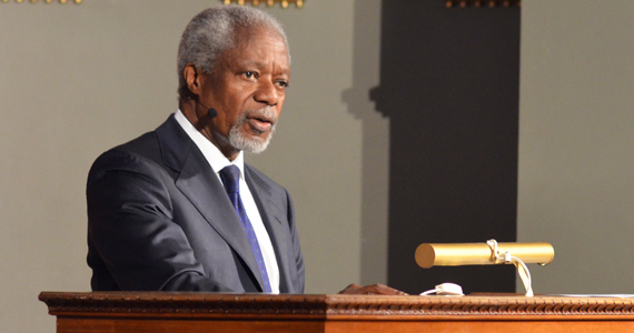 Kofi Annan gives his speech on Prevention, Promotion and Protection: Our Shared Responsibility