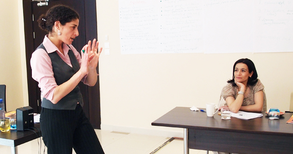 Actress Lana Nasser holds a session on how to manage stage freight