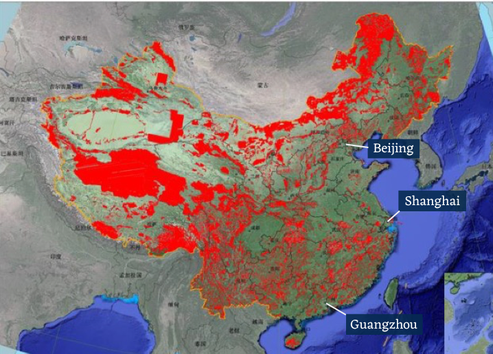 Ecological conservation redlines in 2019. These initial delineations may change as the policy is still being rolled out in 15 provinces in China. (Image: Presentation by the Ministry of Ecology and Environment)